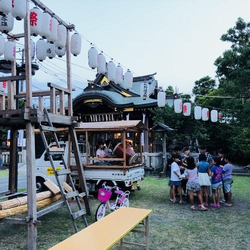 8月1日。月首祭を行いました。境内ではお囃子も練習中です。